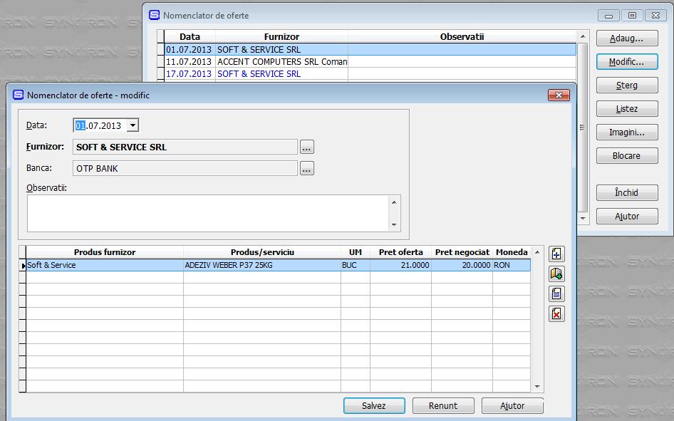 Imaginea nr. 1 – Oferte de la furnizori - Synchron ERP