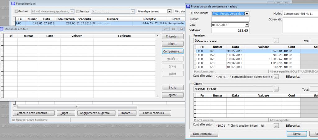 Imaginea nr. 3 – Moduri de achitare - Synchron ERP