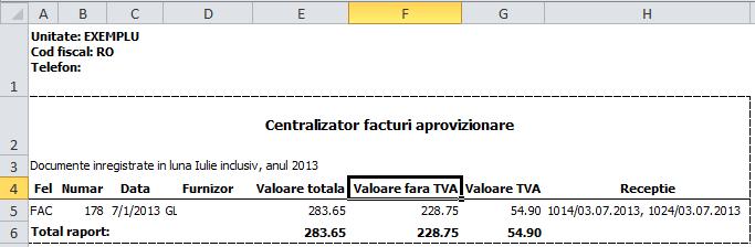 Imaginea nr. 10 – Centralizator facturi - Synchron ERP