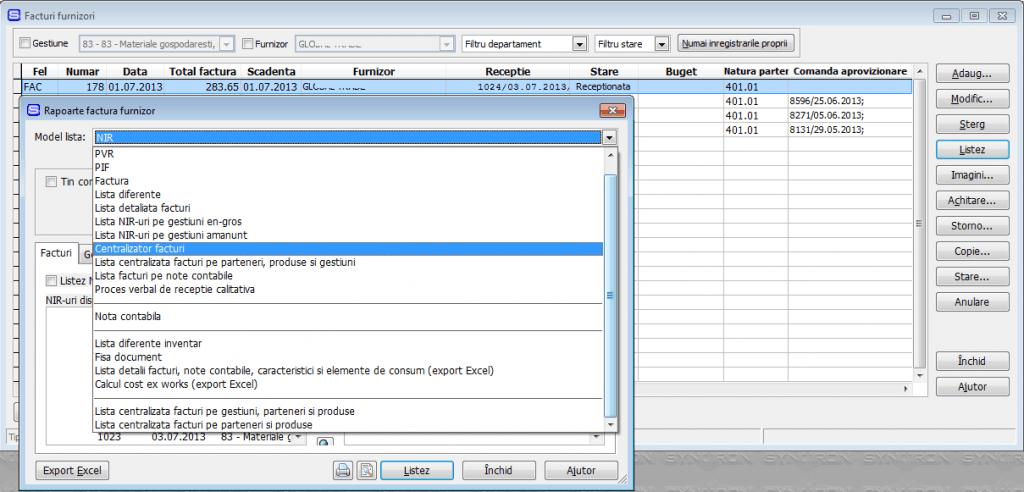 Imaginea nr. 5 – Liste facturi de aprovizionare - Synchron ERP