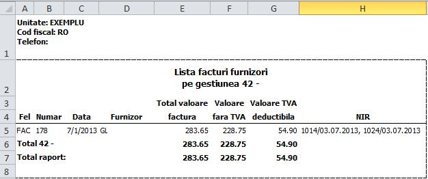 Imaginea nr. 9 – Lista NIR-uri pe gestiuni en-gros – export Excel - Synchron ERP