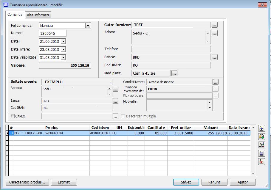 Imaginea nr. 3 –  Comanda de aprovizionare cu preluare produse din oferta - Synchron ERP