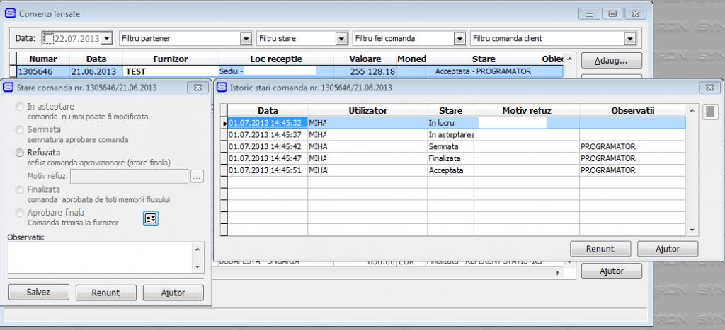 Imaginea nr. 4 –  Stare comanda de aprovizionare - Synchron ERP