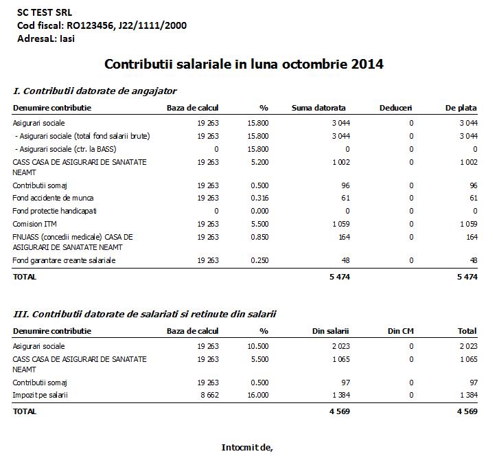 Contributii sociale in luna octombrie 2014