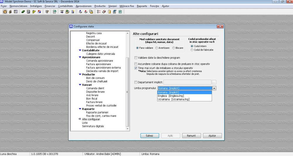 Configurare SSTranslate pentru program de contabilitate Synchron ERP