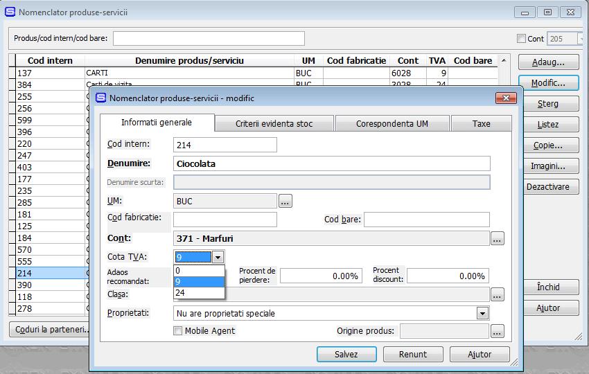 Modificare Synchron ERP pentru TVA 9% - pas 1